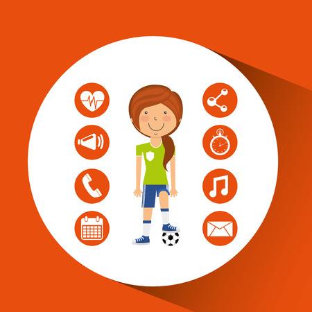 footwork: sport girl soccer game ball graphic vector illustration eps 10