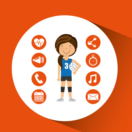 volley: sport girl volleyball player graphic vector illustration eps 10