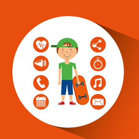 sportsman: sportsman skater game apps icons vector illustration eps 10 Illustration