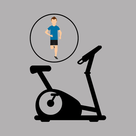 sport man running static bike vector illustration eps 10 Illustration