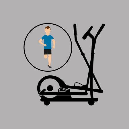 elliptical: sport man running elliptical trainer vector illustration eps 10