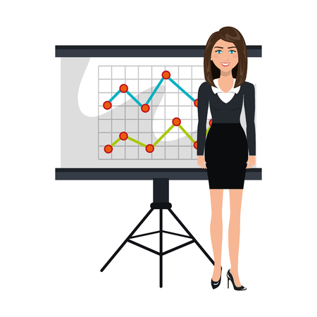business person training with blackboard vector illustration design