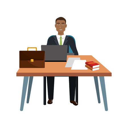 using laptop: business person sitting in workplace vector illustration design