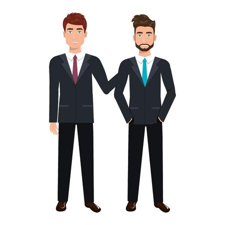 estereotipo: caracteres empresarios avatares ilustración vectorial de diseño Vectores