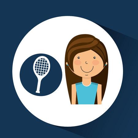 athlete girl racket tennis sport style vector illustration eps 10