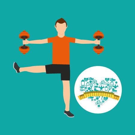 heart weight loss sport male lifting dummbell vector illustration eps 10 Illustration