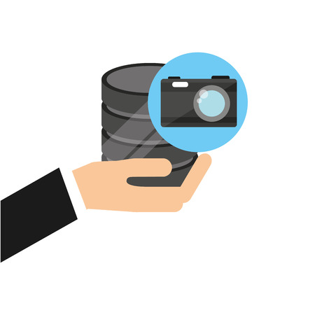 hand holds data photographic camera icon vector illustration eps 10