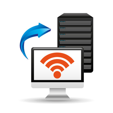 availability: pc data base wifi arrow vector illustration eps 10
