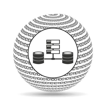 binary globe: globe binary concept data system vector illustration eps 10