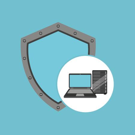 protection laptop data server vector illustration eps 10