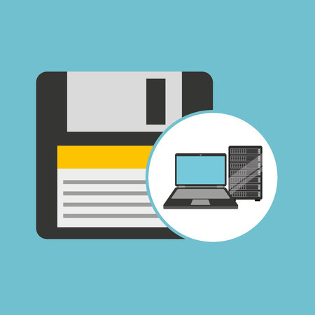 hard drive: backup floppy laptop data server vector illustration eps 10