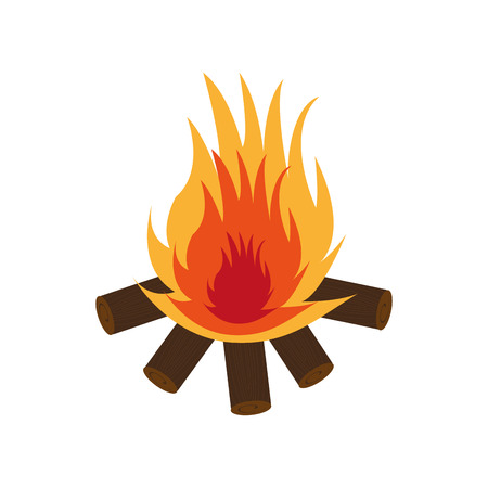 woodpile: campfire flame isolated icon vector illustration design Illustration