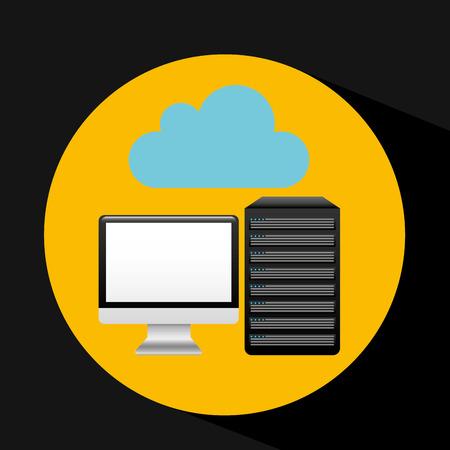 disco duro: pc data base cloud arrow vector illustration eps 10
