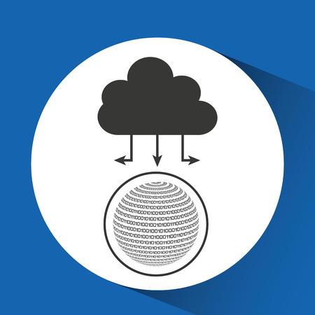 binary globe: globe binary concept cloud connected vector illustration eps 10