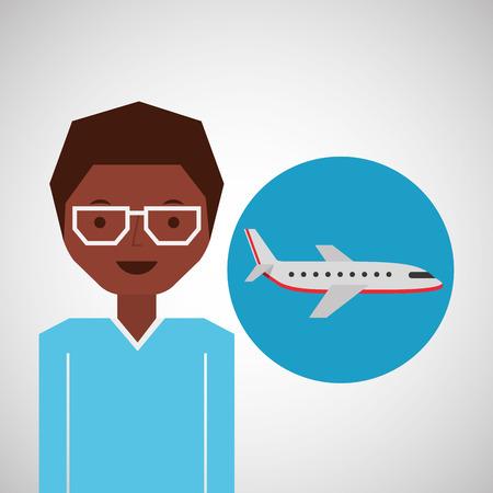 traveler: afroamerican man traveler airplane vector illustration eps 10