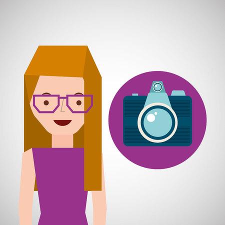 girl glasses: girl glasses camera tourist traveler vector illustration eps 10