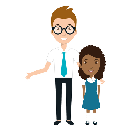 girl student character with teacher isolated icon vector illustration design