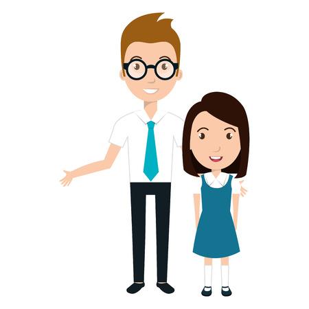 studente karakter met leraar geïsoleerd pictogram vector illustratie ontwerp Stock Illustratie
