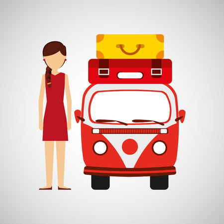 woman red dress vintage van camper suitcases vector illustration eps 10