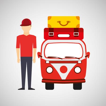 man red cap vintage van camper suitcases vector illustration eps 10
