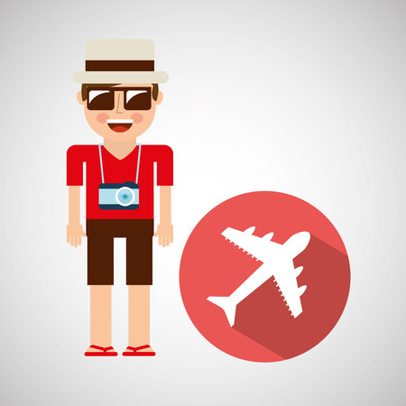 tourist man with camera and airplane vector illustration eps 10