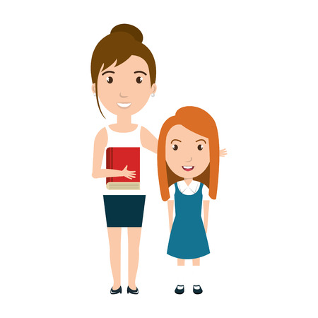 teacher and student: girl student character with teacher isolated icon vector illustration design