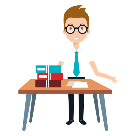 young man teacher character with table vector illustration design Illustration