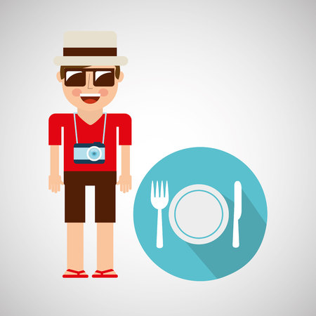 ambience: tourist man with camera and restaurant symbol vector illustration eps 10