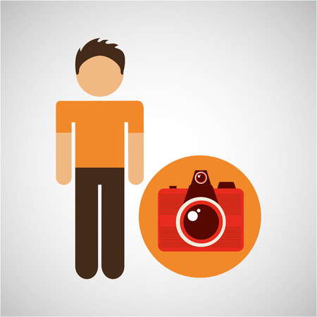 male character traveler photo camera vector illustration eps 10