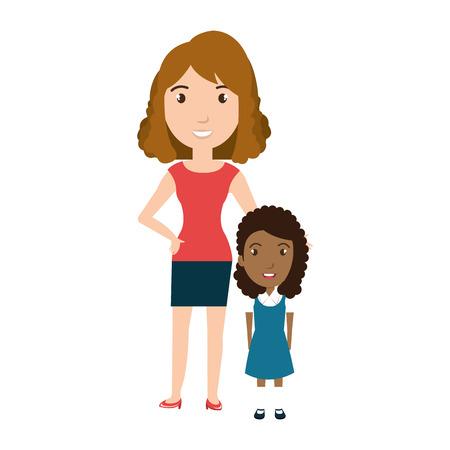先生と女の子学生文字分離アイコン ベクトル イラスト デザイン  イラスト・ベクター素材