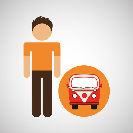 male character traveler vintage car van vector illustration eps 10