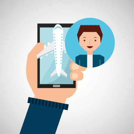phoning: guy hand holds mobile application travel airport vector illustration eps 10