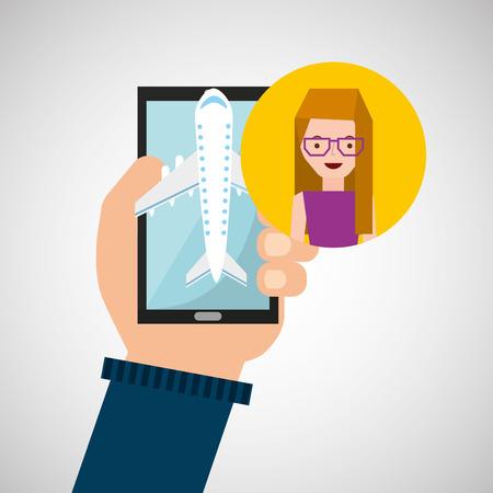girl glasses: girl glasses hand holds mobile application travel airport vector illustration eps 10