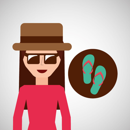 women s hat: toursit female hat sunglasses flip flops vector illustration eps 10
