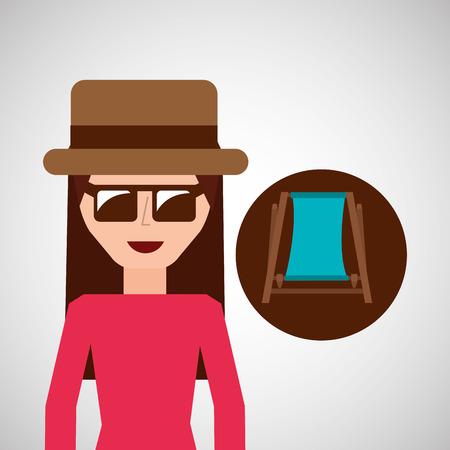 sunglasses beach: toursit female hat sunglasses beach chair vector illustration eps 10 Illustration