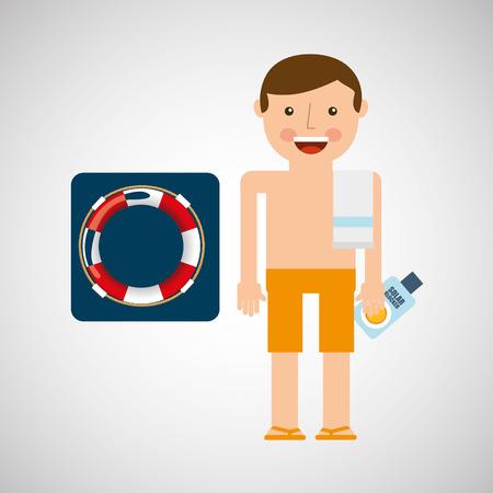 man shorts towel beach vacations lifebuoy vector illustration eps 10