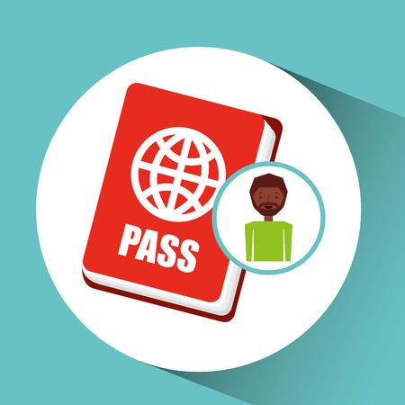 traveler: afro guy passport tourist traveler vector illustration eps 10 Illustration