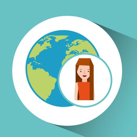 traveler: girl globe world tourist traveler vector illustration eps 10 Illustration