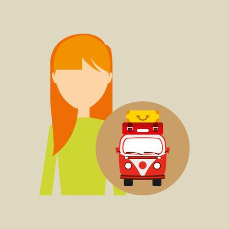 girl blonde vintage van camper suitcases vector illustration eps 10 Illustration
