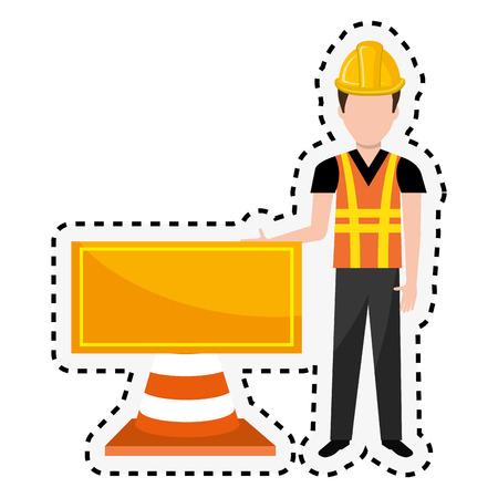 repairman character working icon vector illustration design Illustration