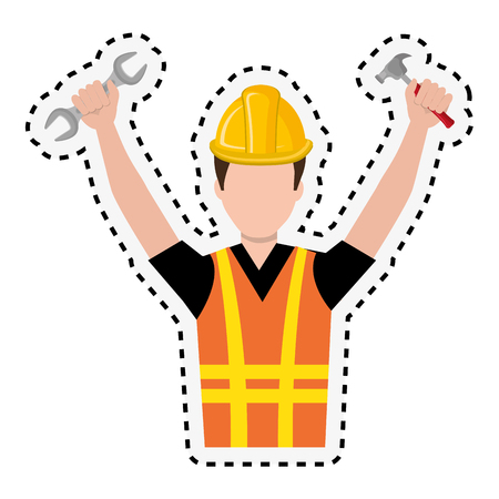 arquitecto caricatura: repairman character working icon vector illustration design Vectores