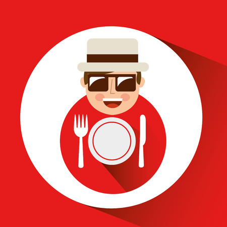 tourist man with camera and restaurant symbol vector illustration eps 10