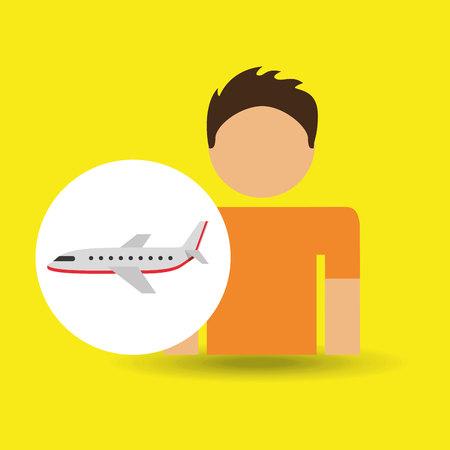 traveler: male character traveler airplane transport vector illustration eps 10