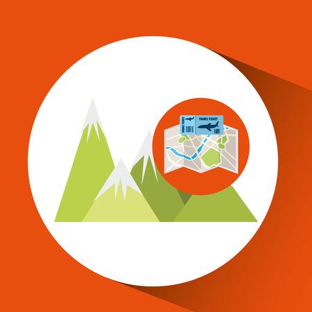 airline ticket map travel mountains landscape vector illustration eps 10