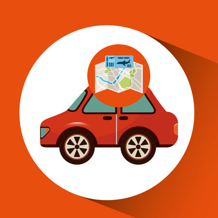 airline ticket map travel red car vector illustration eps 10