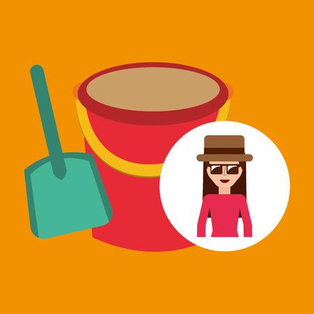 tourist female hat sunglasses bucket shovel sand vector illustration Illustration
