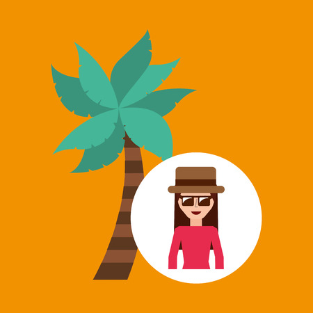 tourist female hat sunglasses palm tree vector illustration