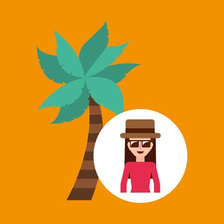 palm tree vector: tourist female hat sunglasses palm tree vector illustration