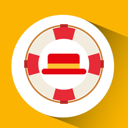 travel tourist hat concept marine nautical symbol vector illustration