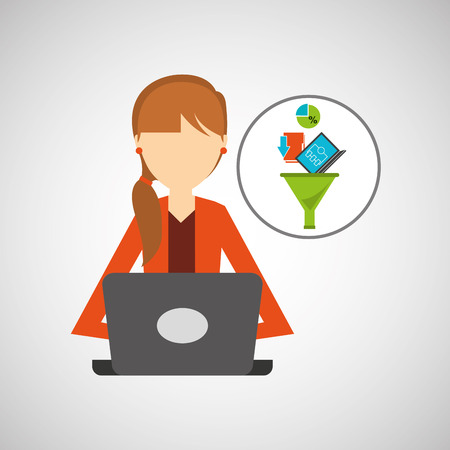 girl using laptop: girl using computer data analysis vector illustration eps 10